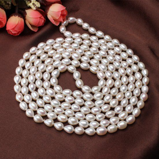 7-8mm Pearl Necklace Sweater Chain - $91.99