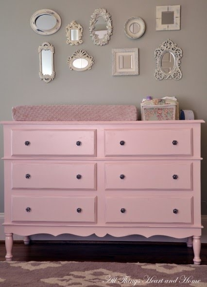 repurpose thrift store furniture...for baby's room.  Maybe gray or blue for a boy
