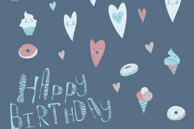 Birthday Design with Hearts and Cupcakes. Vector Illustration AI, JPG #unlimiteddownloads