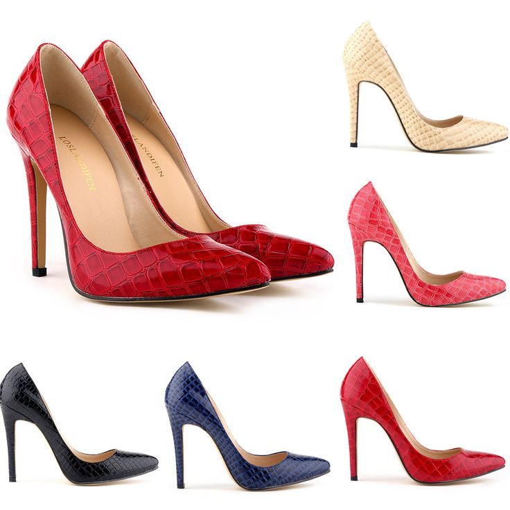 Women Crocodile High Heels Sandals Wedding Party Red Black Shoes OL Pointed Toe Fashion Famous Brand Style Size 35-42