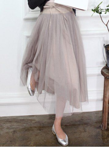Fashionable Voile Spliced Lace-Up Skirt For WomenSkirts | RoseGal.com