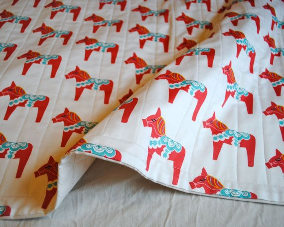 Hey, I found this really awesome Etsy listing at https://www.etsy.com/listing/97073145/organic-baby-quilt-red-dala-horse-modern