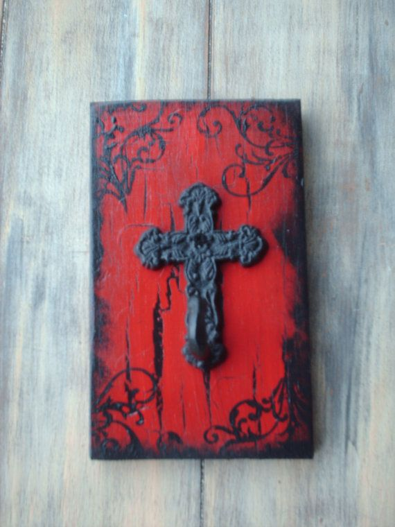Shabby Chic Red and Black Cross Jewelry or by SassySouthernCharm, $10.00