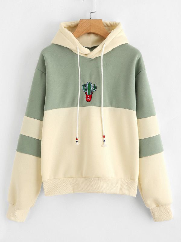 4944cfe721 Cactus Embroidered Color Block Hoodie -SheIn(Sheinside). Boho fashion |  trendy clothes | new fashion | fashion ideas | hot tops | pullover hoodies  | zip up ...