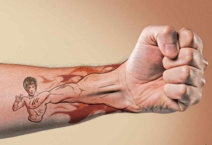 tatouage-homme-avant-bras-poing-Bruce-Lee