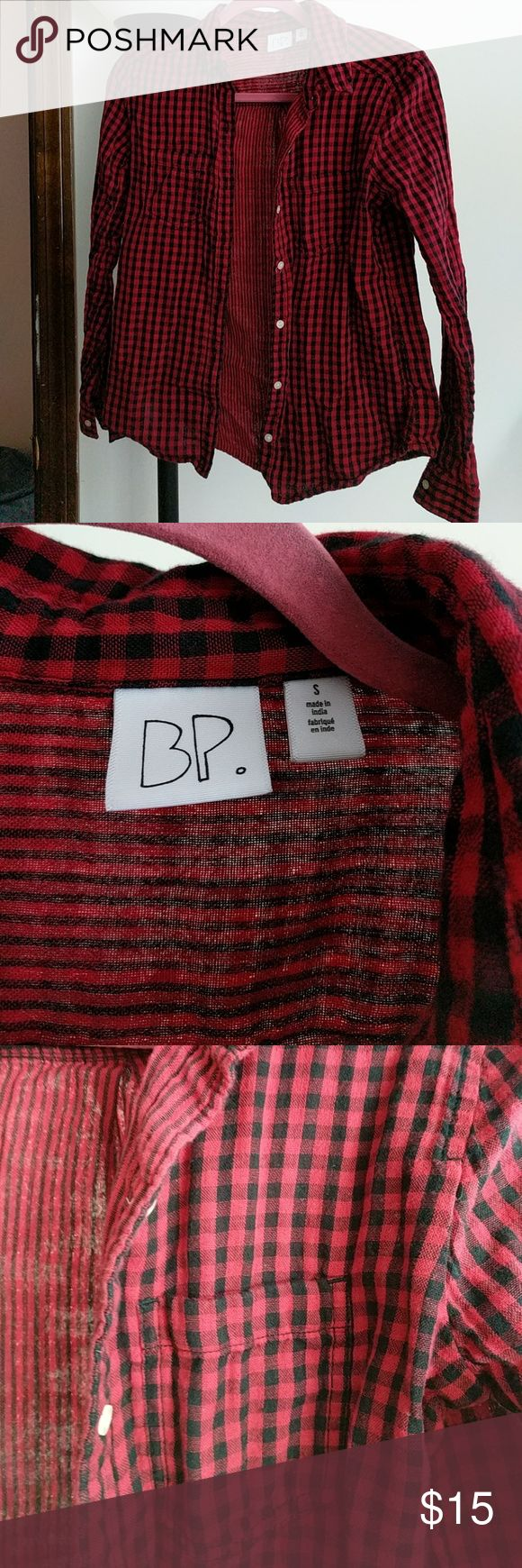 BP flannel shirt BP red and black flannel shirt size small. Worn and washed once. bp Tops