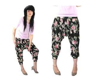 Mc Hammer Pants Harem 90s Inspired Black Bright Floral Leggings