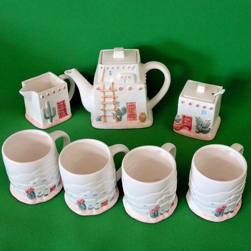 Complete Otagiri (Japan) Figi Designs Southwestern Adobe Motif Coffee/Tea Set