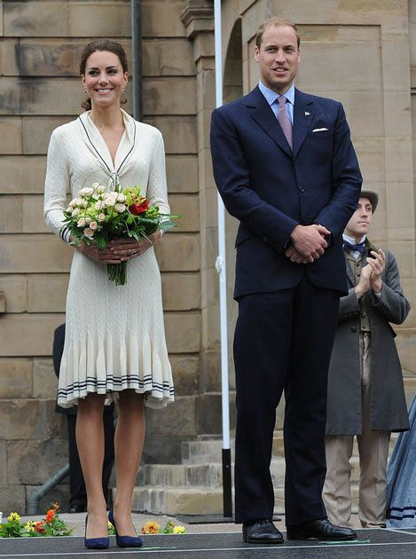 The Duke and Duchess of Cambridge standing in front of Province House in Charlottetown on Prince Edward Island, July 4, 2011.
