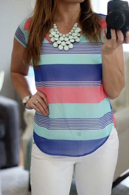 Stitch Fix Review (April 2016) - My most interesting fix yet!  Help me decide what to keep! Papermoon Wiliam Blouse Colorful Striped Spring Top #stitchfix #stitchfixreview
