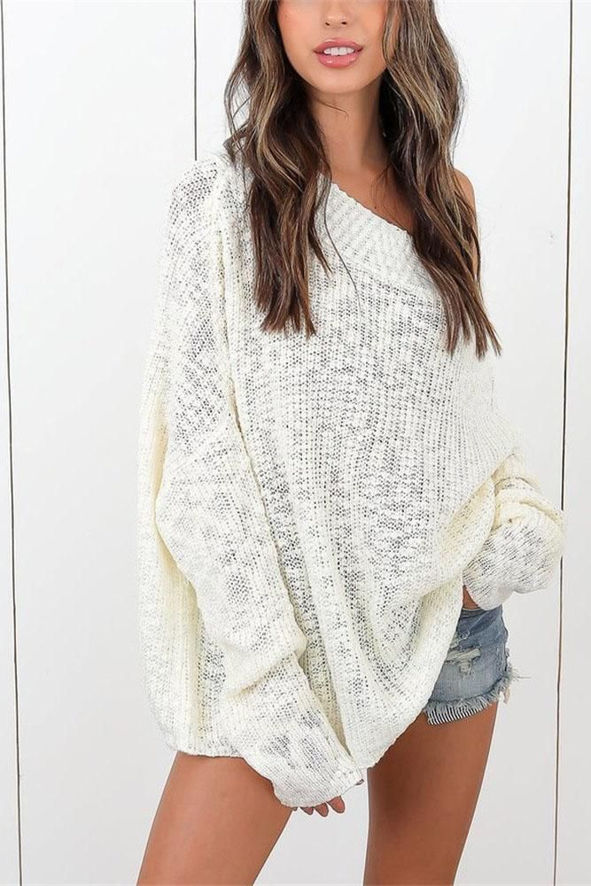 Boat Neckline Loose Long Sleeves Pure Color Sweater 11