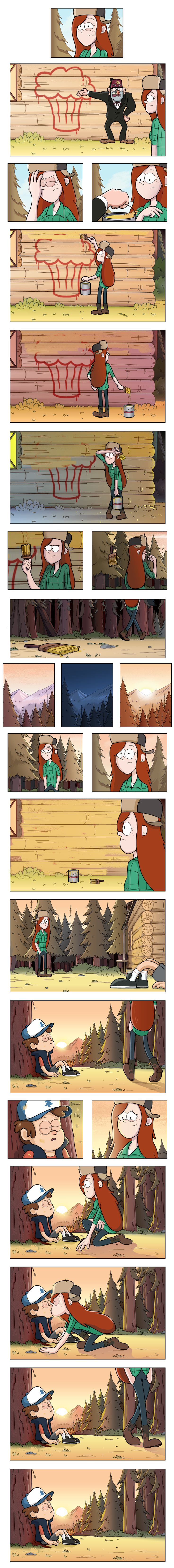 I can imagine Mabel coming out of behind the trees and laughing. And she has paint all over her. ;)