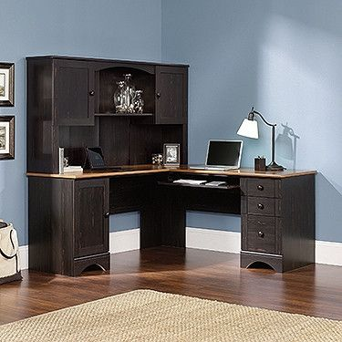 black antiqued l shaped corner desk with included hutch amazing office desk hutch
