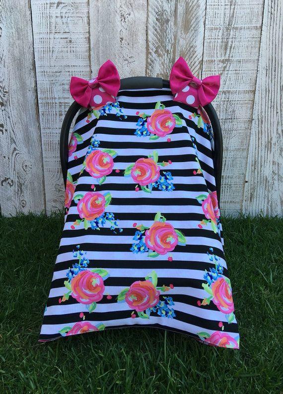 Custom Baby Girl Car Seat Canopy Set Roses by SugarPeasCreations