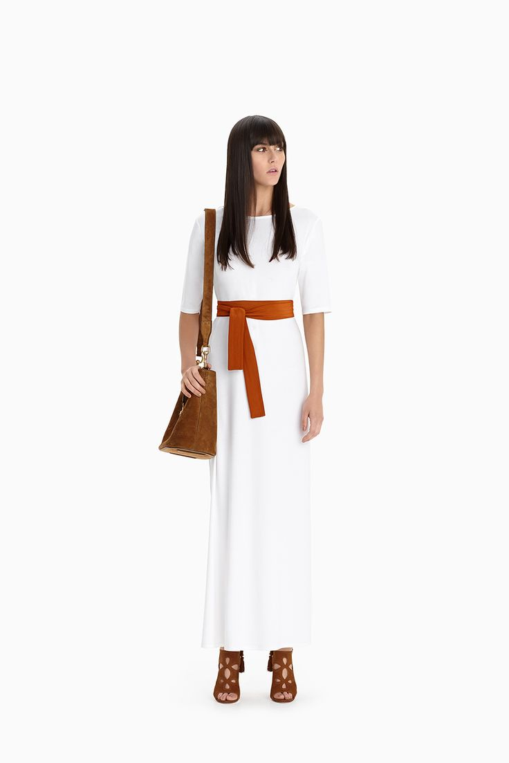White Relaxed Maxi + Copper Obi Belt