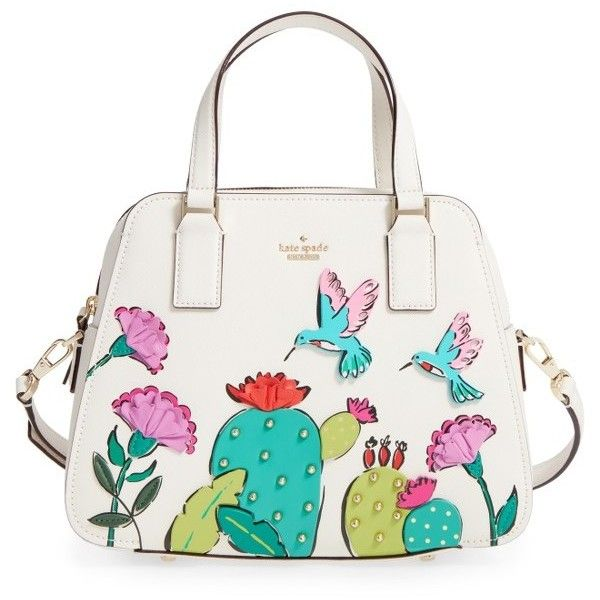 Women's Kate Spade New York Scenic Route Embellished Cactus Satchel ($398) ❤ liked on Polyvore featuring bags, handbags, multi, white studded purse, flower purse, studded handbags, studded satchel handbag and white purse