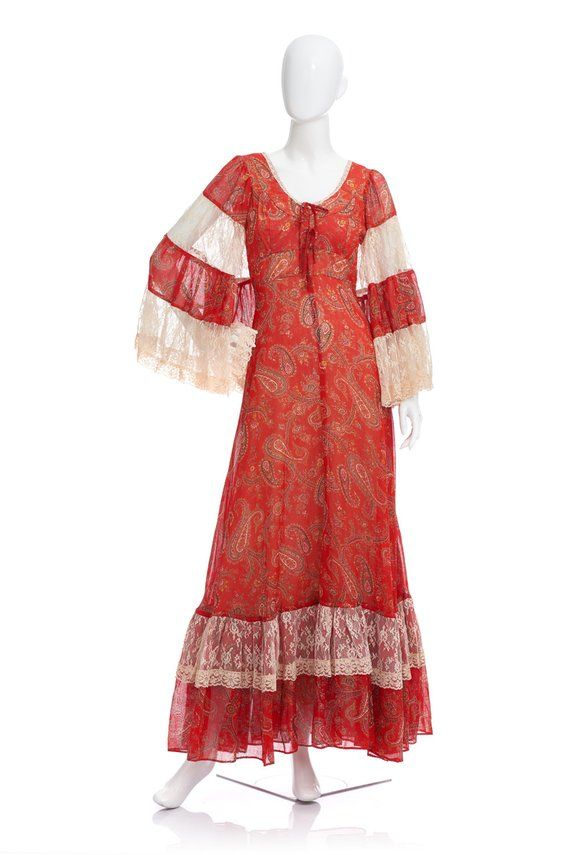 4768f9f9d3b6 Vintage 70's Gunne Sax Floral Paisley Print LACED Bell Sleeves Corset Ties  Empire Waist Hippie Bohemian Tiered Skirt Gypsy Maxi DRESS in 2019 |  Products ...