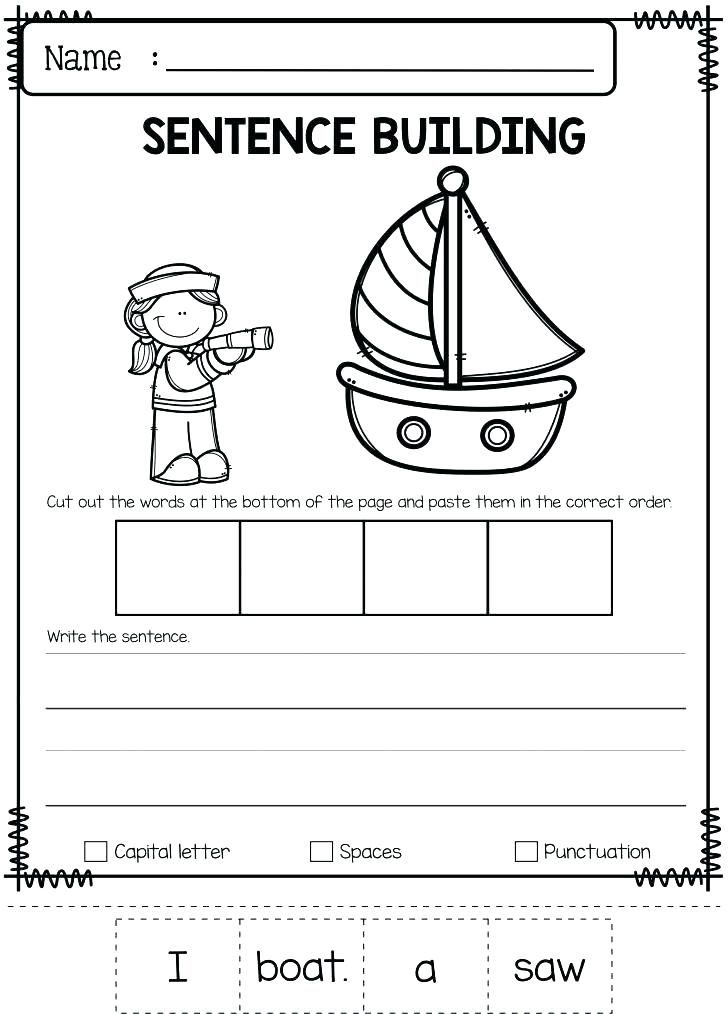 Writing Sentences Worksheets Kindergarten Sentence Simple Free Building For Printab Sentence Building Writing Sentences Worksheets Sentence Building Worksheets