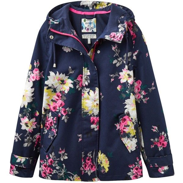 Joules Right as Rain Coast Waterproof Printed Jacket, French Navy... ($120) ❤ liked on Polyvore featuring outerwear, jackets, combat jacket, waterproof jacket, floral jacket, pocket jacket and short jacket