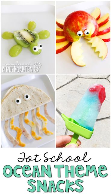 These yummy snacks are perfect for an ocean theme in tot school, preschool, or the kindergarten classroom.