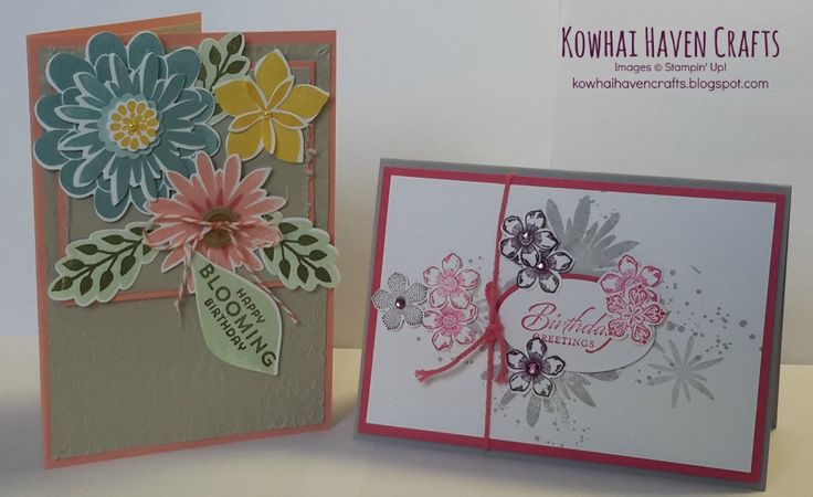 Cards of the month by Kowhai Haven Crafts using Stampin' Up! products. The Blooming Birthday Card was made using the Flower Patch Photopolymer Bundle and the Petite Petals Card show cases the Petite Petals punch and stamp set and the Flower Patch stamp set.