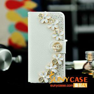 シャネル CHANEL iPhone7手帳型デコケース キラキラ アイフォン7ケース 女性向け 白 レザー製 カード収納