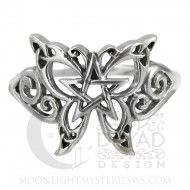 Butterfly Pentacle Ring - anello in argento 925 con farfalla e pentacolo. #wicca #farfalla #anello #pentacolo