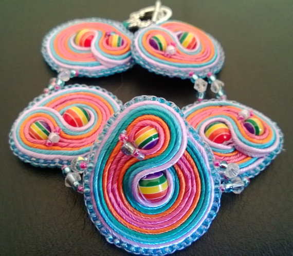 Hand Stitched Soutache Bracelet Inspired by Rainbow Dash brought to you from WickedLittleShop, $40.00