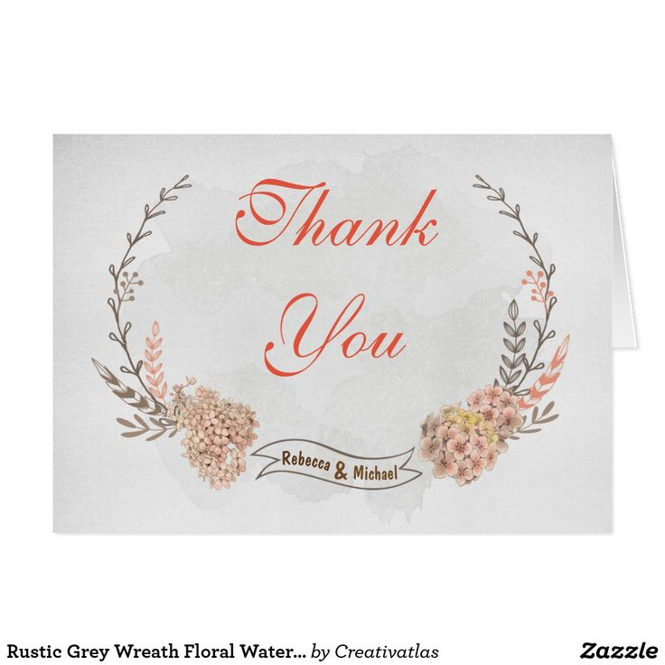zazzle wedding invitations promo code%0A Thank you card templates  Rustic  Grey Wreath Floral Watercolor Thank you  cards  Wedding