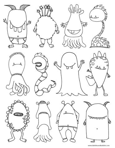 Cute free monsters to print & color.