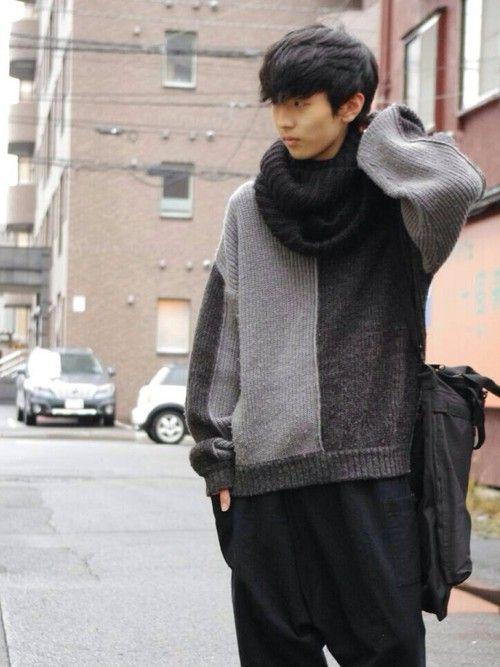 MASAニット・セーター「used グレー バイカラーセーター」Styling looks
