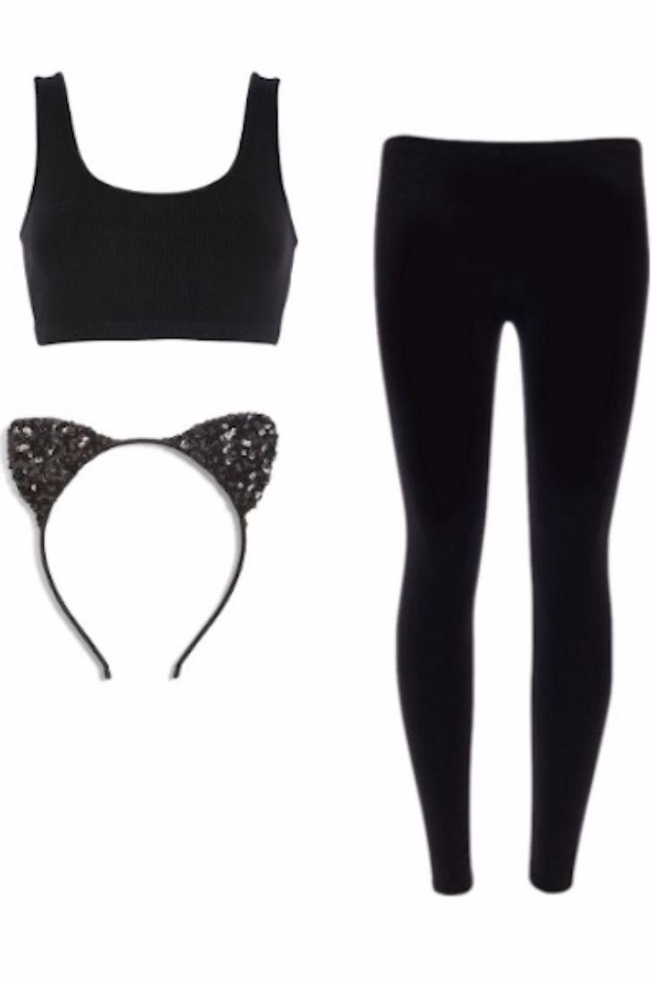 Black cat:  H&M Black Sports Bra, $9.99 Athleta Stealth 7/8 Tight, $98 Cara Sequin Cat Ears Headband, $28