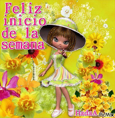 Hermosa niña junto a flores para desear un Feliz inicio de la semana