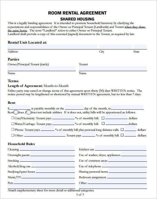Room Rental Agreement Template Template Room Rental Agreement