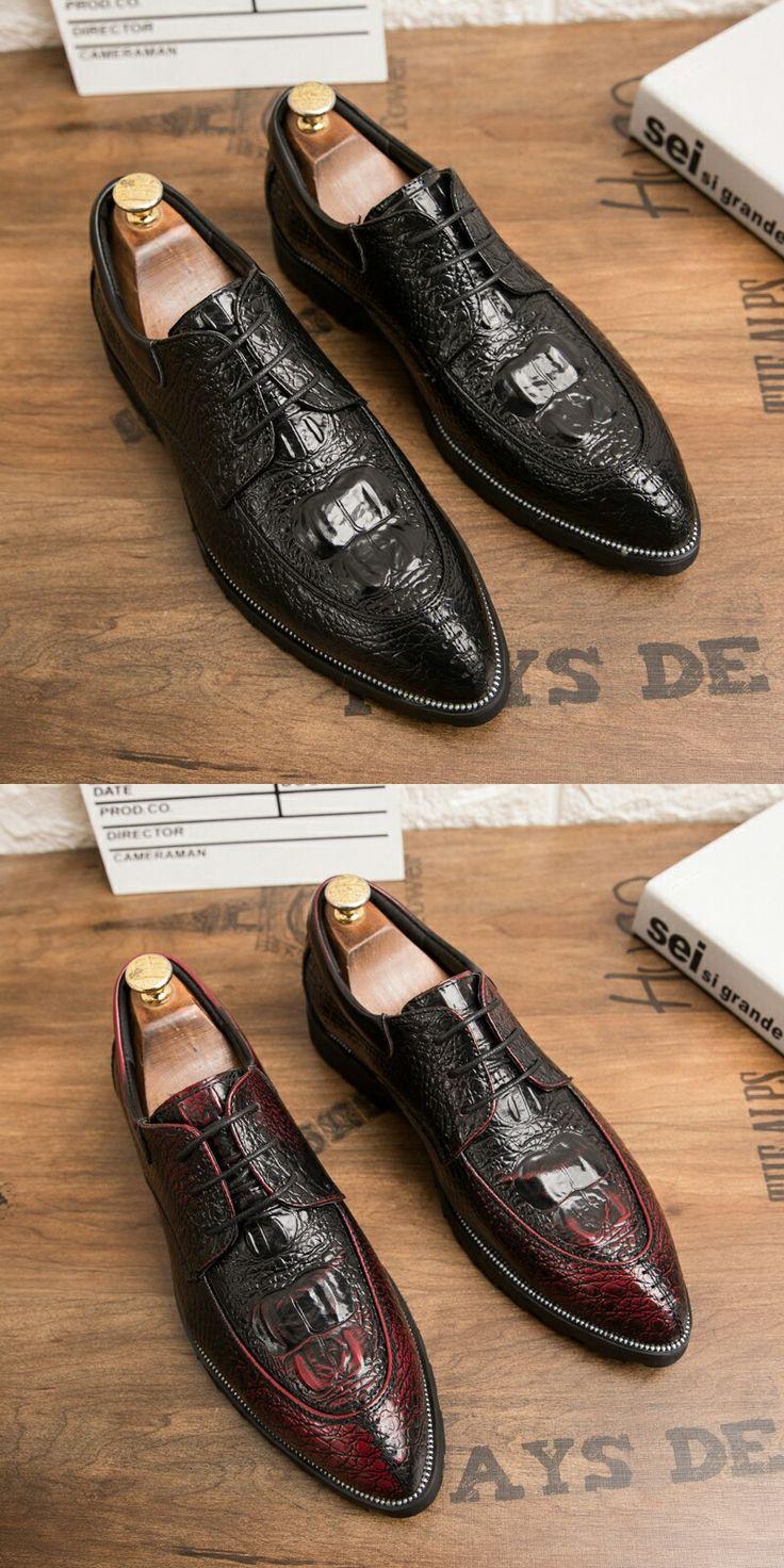 Prelesty Crocodile Bridal Men Business Dress Shoes