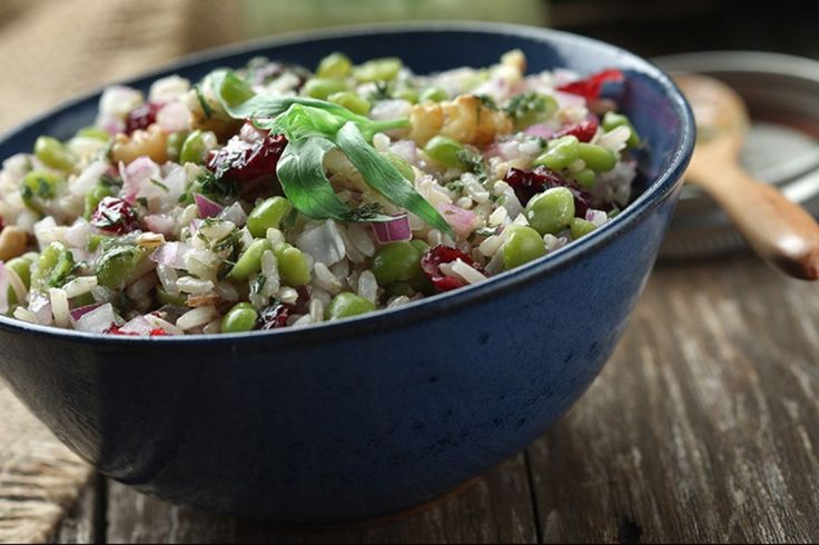 Green Split Pea Salad with Rice and Cranberries