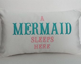 Sunbrella Pillow 12 x 20, Beach Decor, Decorative Pillow, Indoor/Outdoor Pillow, A Mermaid Sleeps Here Custom Embroidered Pillow Cover