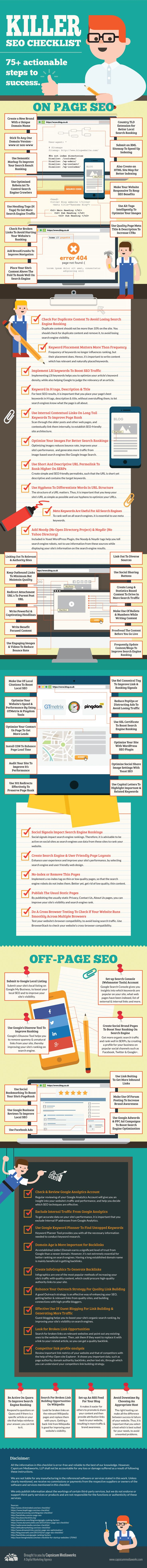 Killer SEO Checklist 75+ Actionable Steps To Success #infographic #SEO