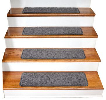Dean Premium Tape Free Non-Slip Pet Friendly Carpet Stair Treads - Dynasty Gray transitional-carpet-flooring