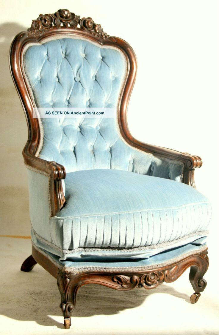 Rare set of twelve victorian solid oak leather antique chairs empire - Antique Edwardian Mahogany Tub Chair Rare C1870 Rococo Victorian Platform Rocker Solid Walnut 39