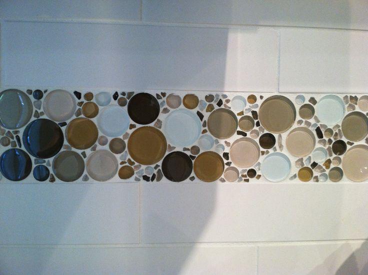 Kitchen Tile Detail Strip Of Round Bubbles Amongst Subway On Backsplash