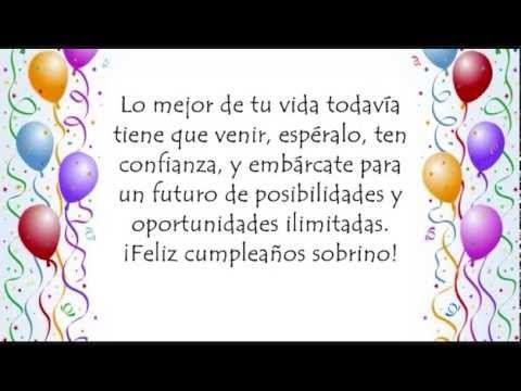 Feliz Cumpleaños Sobrino - Felicitaciones y Postales Para Mi Sobrino - YouTube