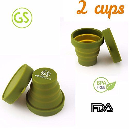 Gouda Select Set of 2 Collapsible Army Green Cups - Light and Small - Easy to Carry - 170 ML  #camping #outdoors #hunting #fishing