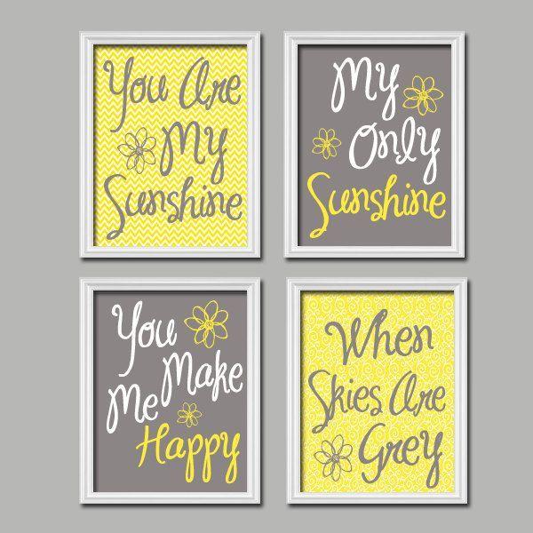Yellow Gray Nursery, You Are My SUNSHINE Wall Art, CANVAS or Prints Baby  Girl NURSERY Decor, Nursery Rhyme, Girl Bedroom Artwork,Set of 4
