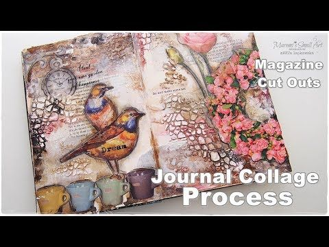 (11) Journal Collage Process using Magazine Cut Outs ♡ Maremi's Small Art ♡ - YouTube