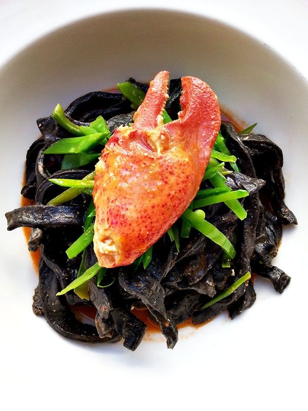 Squid Ink Pasta with Lobster and Sea Urchin - Cherry on my Sundae