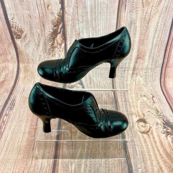 Womens Shoes Black Leather Emilio Luca x heeled oxford victorian style size 37