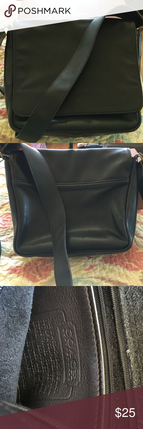 VINTAGE BLACK COACH BAG ORIGINAL LARGE LEATHER FLAP FRONT VERY GOOD CONDITION HAS FEW MINOR SCRATCHES CONSISTENT WITH AGE NO 1769-328 MADE IN USA NI HANG TAG Coach Bags Shoulder Bags