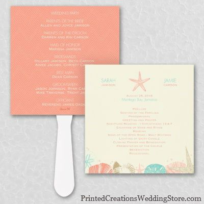 This Starfish Program Fan has fun tropical colors and a beachy design to inform guests and keep them cool during your beach wedding.  See this design and many more here - www.printedcreations.carlsoncraft.com.