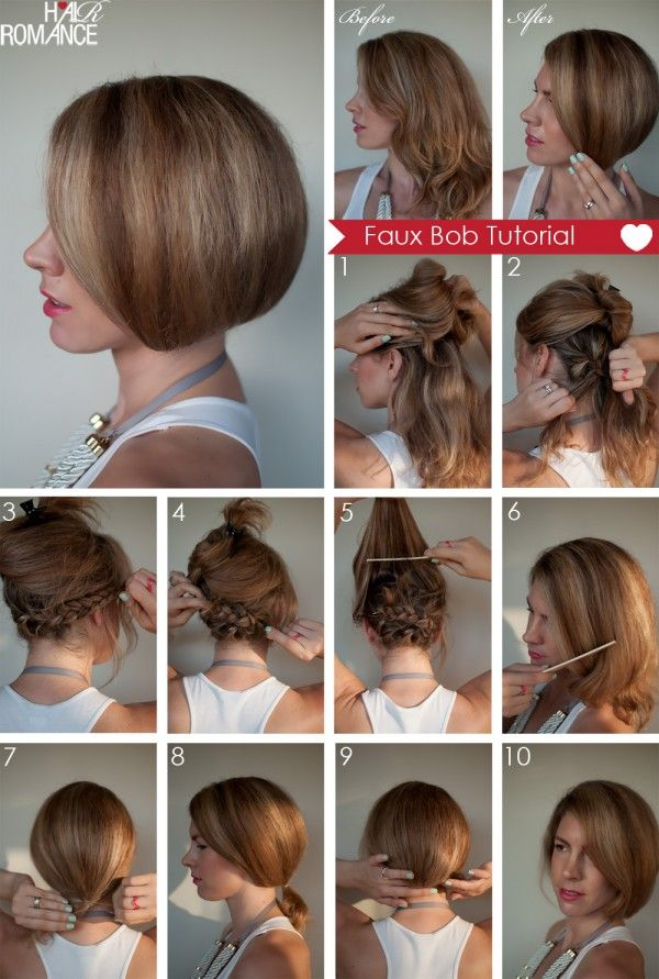 Haha totally doing this to trick people!Faux-Bob-braid and pin bottom half of hair, back comb and smooth top, tie in loose ponytail, flip ponytail under and pin hair elastic to braids. Instant short hair! Hmmm gotta try this + curls :)